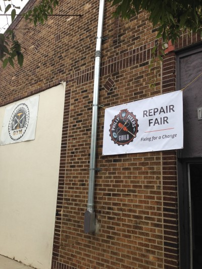 Repair Fair welcome sign at the Sculpture Gym in Fishtown